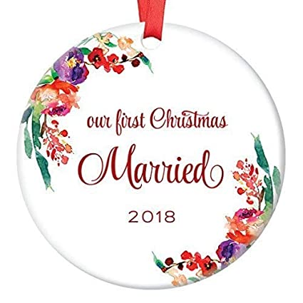 murieljerome newlywed christmas ornament 2018 2019 first xmas tree gift idea for new husband wife