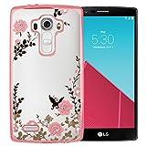 MOONCASE LG G4 Case Premium [Secret Garden] Butterfly Soft TPU Plating Bling Glitter Transparent Back Case Cover for LG G4 -Rose and Pink Flower