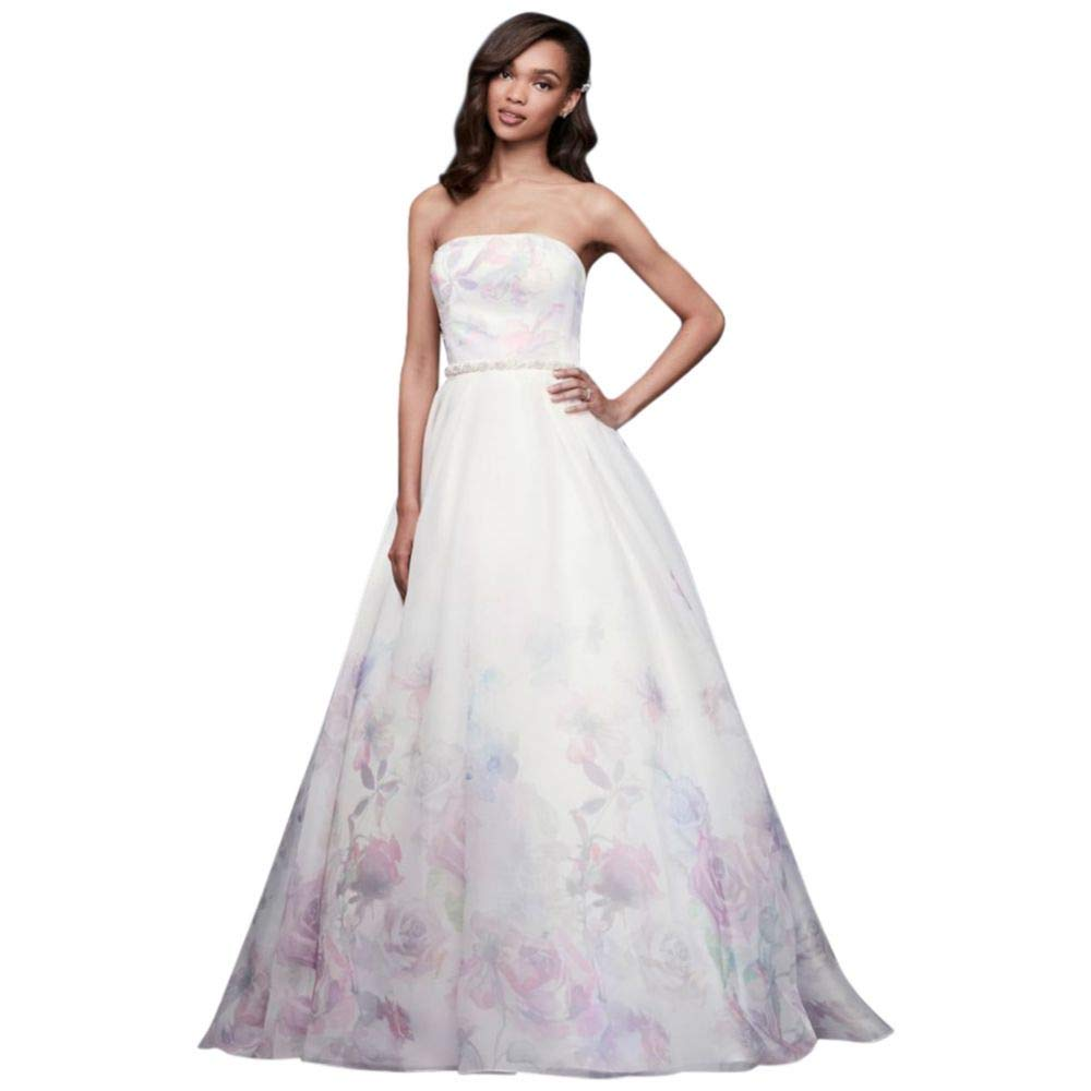 Floral Watercolor Organza Ball Gown Wedding Dress Style Wg3934 At