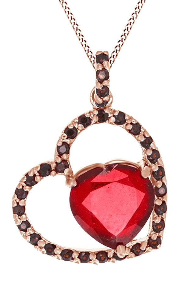 4.53 Cttw Jewel Zone US Simulated Ruby /& Red Garnet Heart Pendant Necklace in 14k Gold Over Sterling Silver