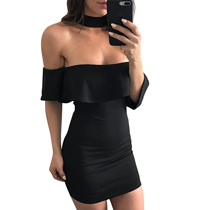 Damen Kleider, GJKK Damen Reizvoller Sommerkleid Schulterfrei Lotus ...