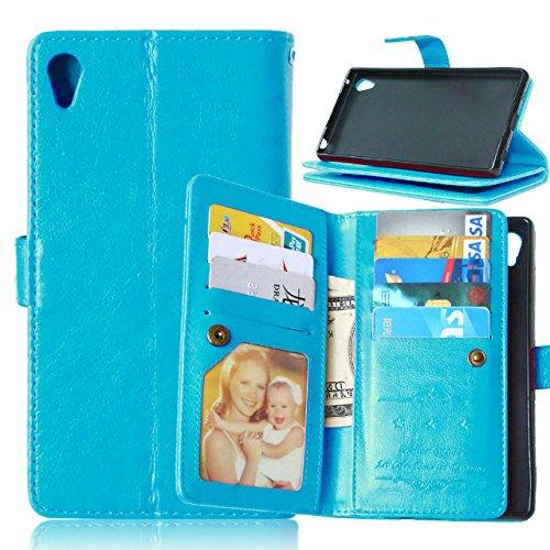 Wkae Case Cover Sony Z4 Caso, Caja sólida de cuero en color de alta calidad de la PU de la cubierta del caso del soporte de la carpeta para Sony Z4 ( Color : Rose , Size : Z4 ) Blue