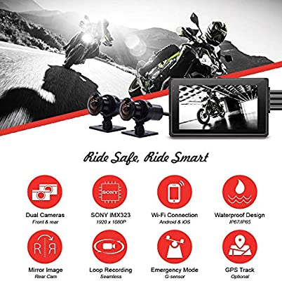 Vsysto Action Backup Camera Front//Rear 1080P+720P Motorcycle Dash Cam Lens Dash cam for Sports Bike//Motorcycle DVR Recording System with Full HD Front and Rear View Wide Angle 3.0 LCD