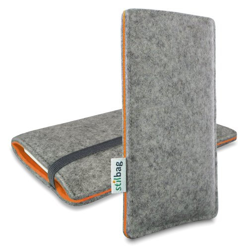 Stilbag Etui Feutre 'FINN' pour Apple iPhone 5s - Couleur: gris/orange