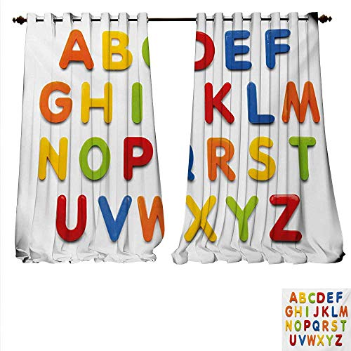 familytaste Customized Curtains Multicolored Collection of Alphabet Letters Education Image Capital Symbols Writing Room Darkening Wide Curtains W84 x L84 Multicolor.jpg