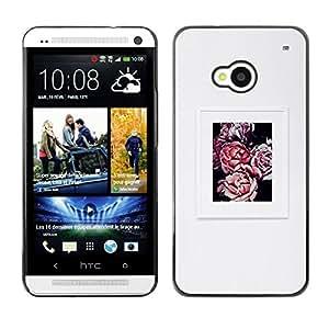 Gris Gris Begonia Poster Flor de Primavera- Metal de aluminio y de plástico duro Caja del teléfono - Negro - HTC One M7