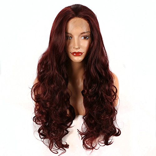 Bombshell Dark Wine Red Burgundy 99J Deep Wave Synthetic Lace Front Wig Heat Resistant Fiber Naurtral Hairline For Women Wigs