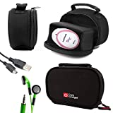 DURAGADGET Black Neoprene Lightweight Zip-Locked Carry Case - Compatible with the AngelSounds Fetal Doppler Baby Heart Monitor - Includes USB Data Cable and Novelty LED Green Flashing Earphones