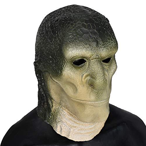 Halloween Horrific Alien Lizard Head Latex Mask Reptilian Elite Lizard Man Mask Party Costume Cosplay -