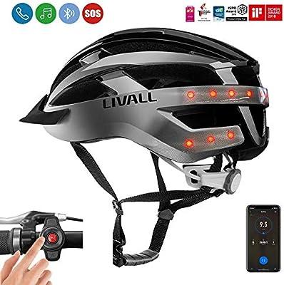 Casco inteligente para bicicleta Livall MT1 con luces de giro en parte trasera y los laterales, con micrófono integrado, altavoces Bluetooth, para ciclismo de montaña, color negro/gris, tamaño Medium: Amazon.es: Deportes y