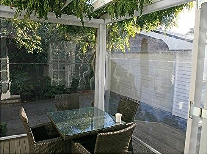 MOSCHITELLA - Toldo transparente con caída, de PVC, con cremallera lateral de bloqueoLona de cristal o coloreada. Personalizable.: Amazon.es: Jardín