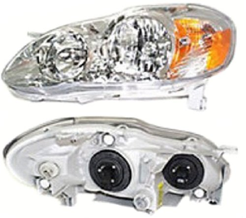 Discount Starter and Alternator TO2502160 Toyota Corolla Replacement Driver Side Headlight Clear Plastic Lens With (1.8l 4cyl Alternator)