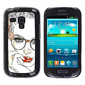 GOODTHINGS ( NO PARA S3 i9300 ) Funda Imagen Diseño Carcasa Tapa Trasera Negro Cover Skin Case para Samsung Galaxy S3 MINI I8190 I8190N - labios gafas rosas mujer sexy floral