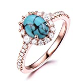 Black Blue Turquoise Engagement Ring CZ Cubic Zirconia Diamond Halo 925 Sterling Silver Rose Gold Oval