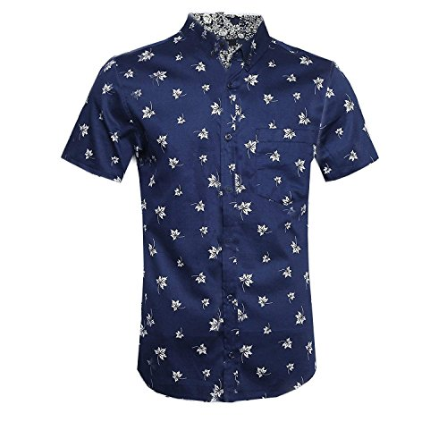 NUTEXROL Men's Star Print Casual Shirt Short Sleeve Cotton Shirts F-Navy 3XL (Stars Large Casual Mens Clothing)