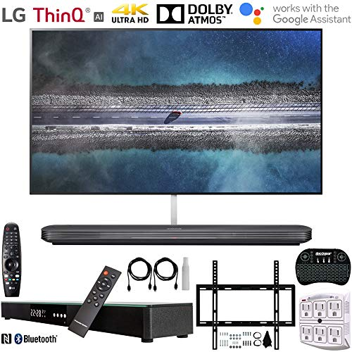 "LG OLED65W9PUA 65"" W9 Signature OLED 4K HDR Smart TV w/AI ThinQ (2019) +Deco Gear Home Theater Surround Sound 31"" Soundbar +Deco Mount Flat Wall Mount Kit + 2.4GHz Wireless Keyboard w/Touchpad +More"