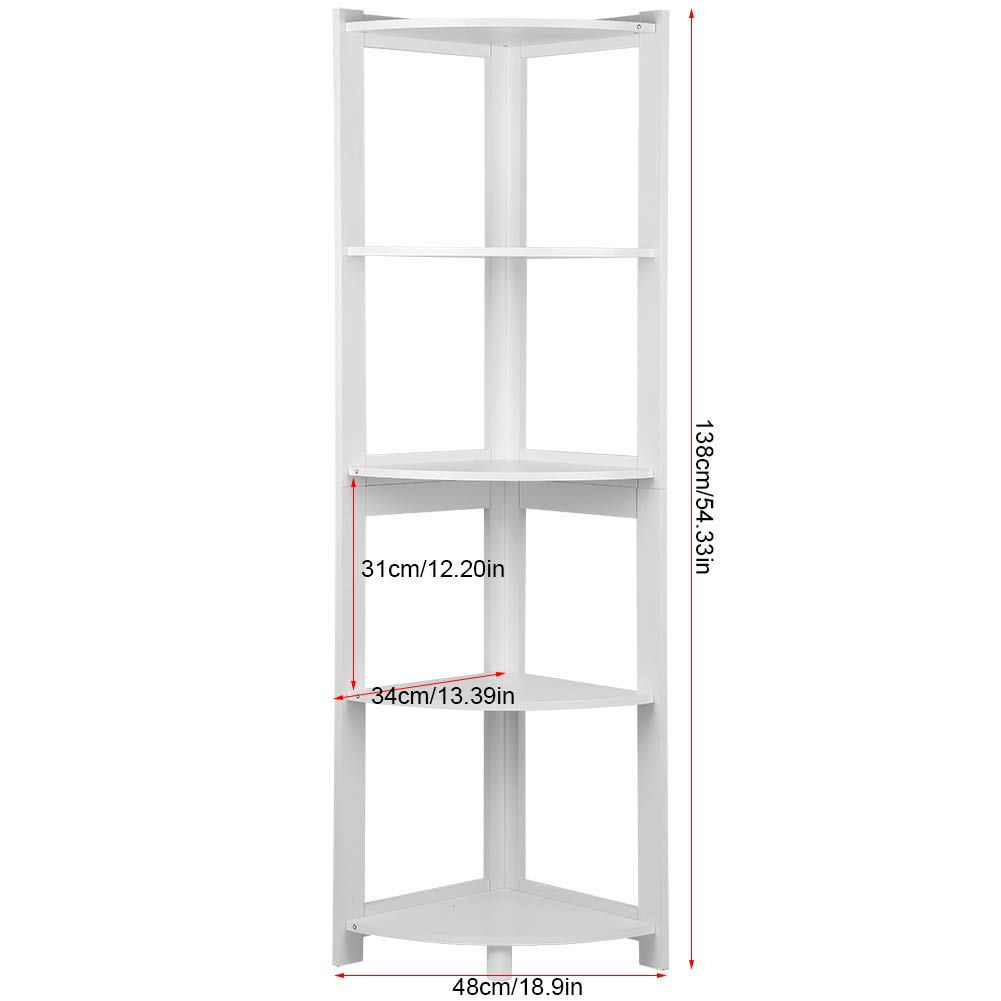 Ejoyous Corner Bookshelf, 5 Tier Multipurpose Display Corner Bookcase Storage Rack Plant Stand Organizer Shelving Unit for Home Living Room Kitchen Bath Bedroom Office (White) by Ejoyous