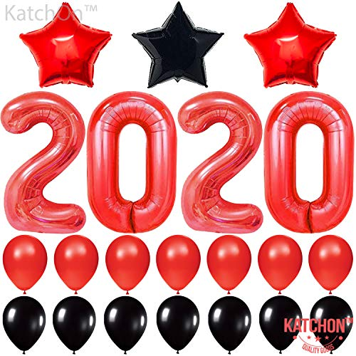 Graduation Party Items (Red 2020 Balloons for New-Year, Large, 40 Inch | Red and Black Balloon Kit | New Years Eve Party Supplies 2020 | Graduations Party Supplies 2020 | New Years Party)
