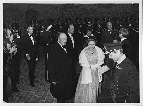 - Vintage photo of King Olav and Queen Elizabeth of England arrive for dinner at197;kershus Castle