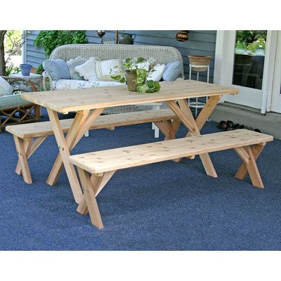 Creekvine Designs Red Cedar 27In Picnic Table w/Detached Bench 5Ft
