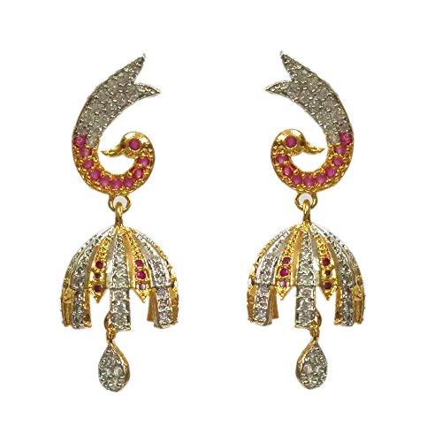 Pourni Exclusive Designer American Diamond Gold Finish Earring For Women by Pourni