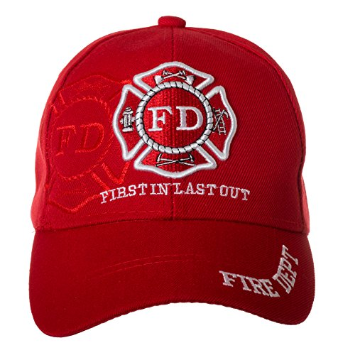 - Artisan Owl Fire Department First In Last Out Cap - Firefighter Gift -100% Cotton Embroidered Hat (Red)