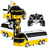 Best Choice Products Toy Remote Control Transformer Bus RC Robot w/ USB Charger- Yellow