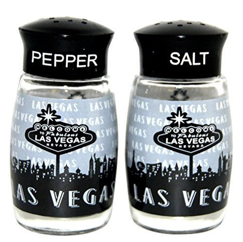 (Las Vegas Black and White Repeat Salt and Pepper Shaker Set)