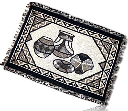 Southwestern Native American Pottery (mySimpleProduct.Shop Gray, Black, White Rectangle Aztec Native American Southwestern Indian Ancient Art Pottery Geometric Fringed Blanket Table Placemats Made of 100% Cotton [Set of 2] + Certificate)