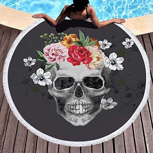 Gbyj Tappetino Da Spiaggia Grande Stampato Bagno Donne Asciugamano Arazzo Yoga Zucchero 2 zh8o c7sk Teschio Rotondo Per 150x150cm Spessa Tessuto 17 Donna 4awxqr4
