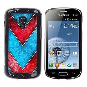 TopCaseStore / la caja del caucho duro de la cubierta de protección de la piel - Chevron Blue Red Watercolor Pattern - Samsung Galaxy S Duos S7562