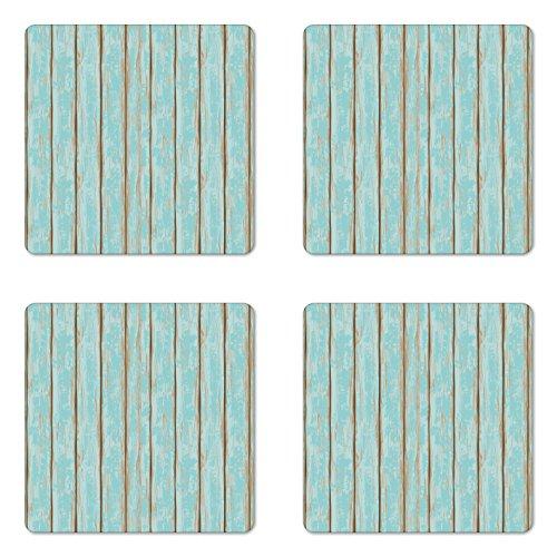 Lunarable Wood Print Coaster Set of 4, Old Fashioned Weathered Rustic Planks Summer Cottage Beach Coastal Theme, Square Hardboard Gloss Coasters, Standard Size, Pale Blue Tan
