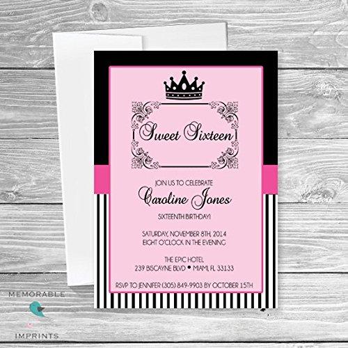 amazon com sweet 16 invitations black and pink sweet 16
