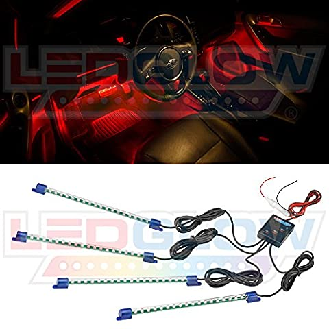 LEDGlow – 4pc Red Car & Truck LED Interior Accent Lighting UnderDash Kit with Controller
