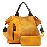 Le Miel Distressed Effect Vegan Leather Weekender + Wallet (Mustard)