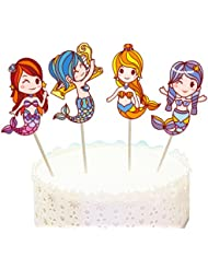 Joinor 24Pcs Mermaid Cupcake Muffin Topper Picks Cake Decoration Baby Shower Birthday Party Favors