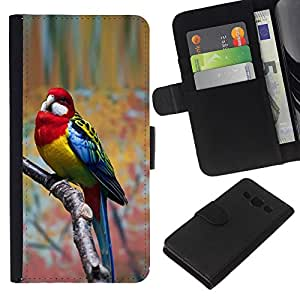 KingStore / Leather Etui en cuir / Samsung Galaxy A3 / Direction Parolee Oiseau tropical