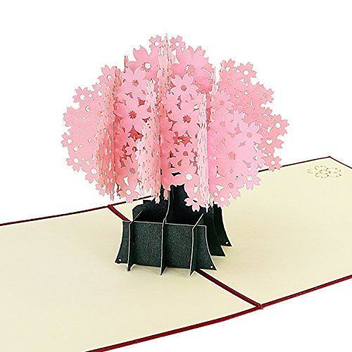 3D Pop Up Birthday Card, Picopaco Handmade 3D Card Cherry Blossom Greeting Cards Romatic Cards for girl's Birthday Valentine's Day Wedding & party Invitation Anniversary Greeting, Thank you greeting C
