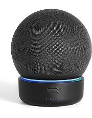 Base de bateria GGMM D4 base para Alexa Echo Dot de 4ª geração, carregador de bateria portátil com alto-falante inteligente, novos acessorios alexa Echo Dot, pretos (não incluindo Alexa Echo Dot 4)