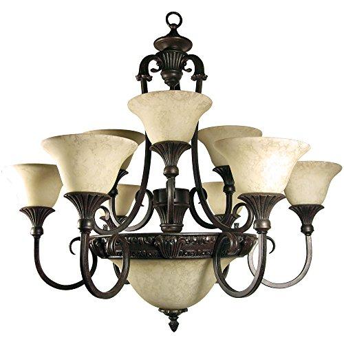 Yosemite Home Decor F023A12SB Verona 12 Light Chandelier, Honey Parchment Glass Shades, Sienna Bronze Finished Frame, 35″ x 32″