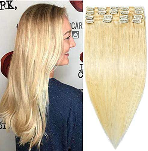Modernfairy Hair Real Human Hair Extensions Clip in Full Head Thick Straight Remy Hair Extensions for Women 8Pcs 18 Clips 16
