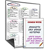 Multi-Purpose Weekly Magnetic Dry Erase Board for Refrigerator with **BONUS** Magnetic Dry Erase Notepad – Smart Fish by ACE Gadget - Chores, to do list, reminders and Menu Planner Board (12 x 16 inches)