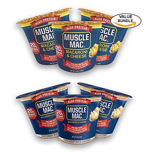Variety Pack, (3) Aged Sharp White Cheddar, (3) Classic Cheddar, Muscle Mac High Protein Macaroni & Cheese Microwavable (Aged Sharp Cheddar)