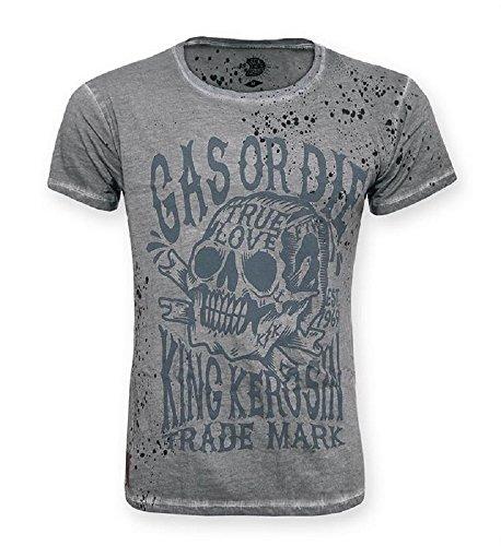 King Kerosin Shirt Gas Or Die, steel grey, Größe XL