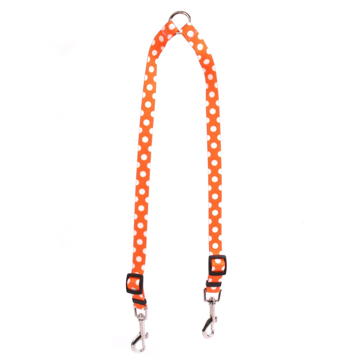 Yellow Dog Design Tangerine Polka Dot Coupler Dog Leash-Size Medium-3/4 inch Wide and 12 to 20 inches Long by Yellow Dog Design
