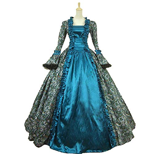 Colonial Georgian Penny Dreadful Victorian Dress Gothic Period Ball Gown Reenactment Theater Costumes (XL, Blue)