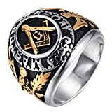 Rinspyre Men's Stainless Steel Master Mason Ring Vintage Freemason Masonic Symbol Biker Band Gold Size 10