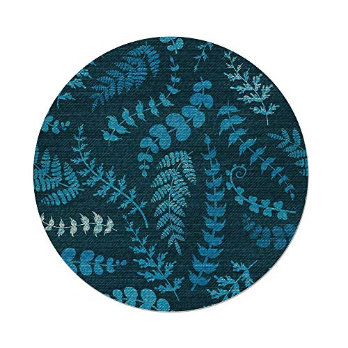iPrint Cotton Linen Round Tablecloth,Indigo,Dark Green Backdrop Floral Swirl Leaves Branches Details Image,Turquoise Light Blue and White,Dining Room Kitchen Table Cloth Cover