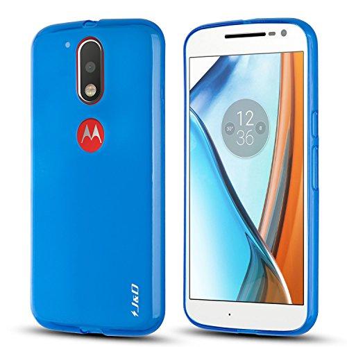 J&D Case Compatible for Moto G4 Plus/Moto G4 Case, [Drop Protection] [Slim Cushion] Shock Resistant Protective TPU Slim Case for Motorola Moto G4 Plus Bumper Case - [NOT for Moto G4 Play] - Blue