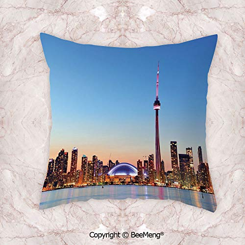 Square Throw Pillow waist cushion,Modern,Canadian Skyline Toronto City With Lake Panorama At Evening Urban Scenery Decorative,Light Blue Cinnamon,19.6x19.6 Inch,Soft and comfortable Healthy Kids Room (A And Chair Toronto Half)